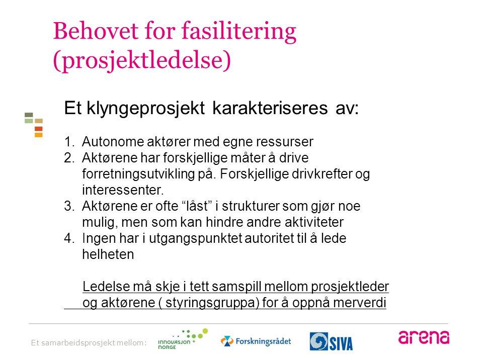 Behovet for fasilitering (prosjektledelse)