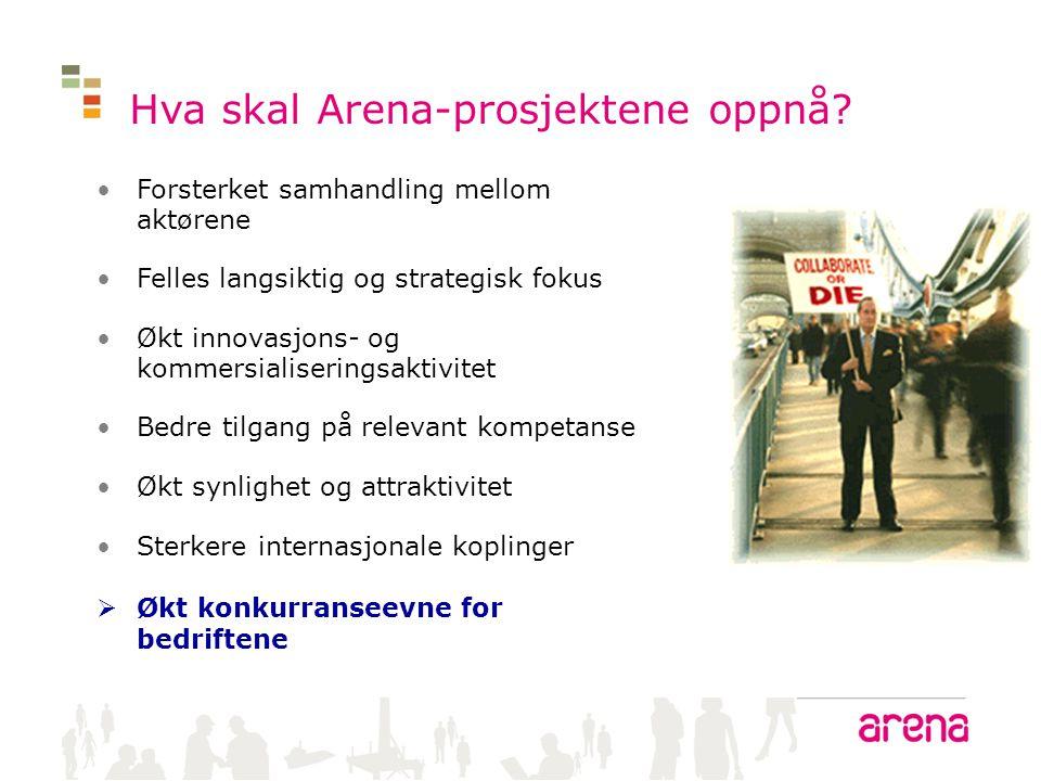 Hva skal Arena-prosjektene oppnå