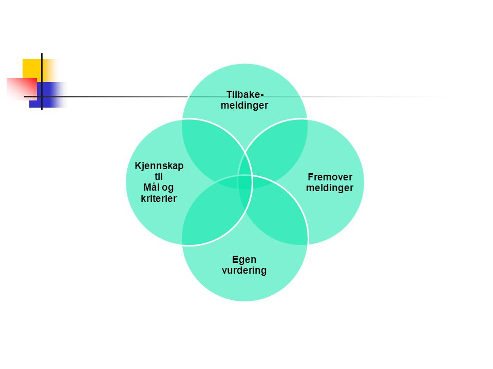 Tilbake- meldinger Fremover Egen vurdering Kjennskap til Mål og kriterier