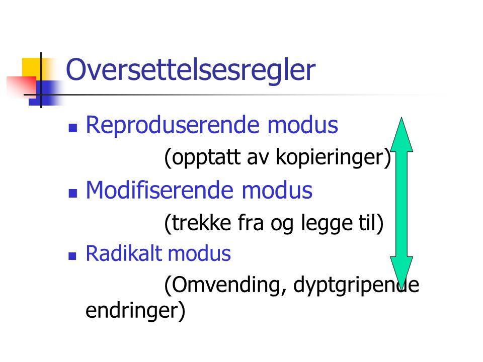 Oversettelsesregler Reproduserende modus Modifiserende modus