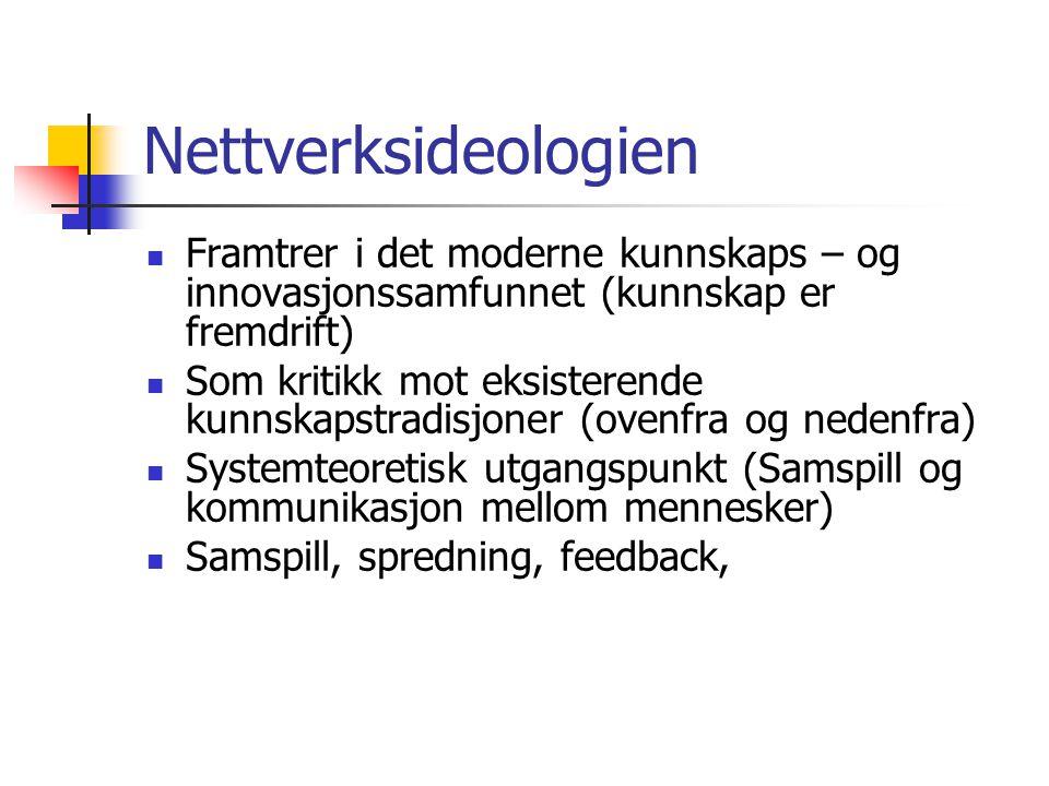 Nettverksideologien Framtrer i det moderne kunnskaps – og innovasjonssamfunnet (kunnskap er fremdrift)