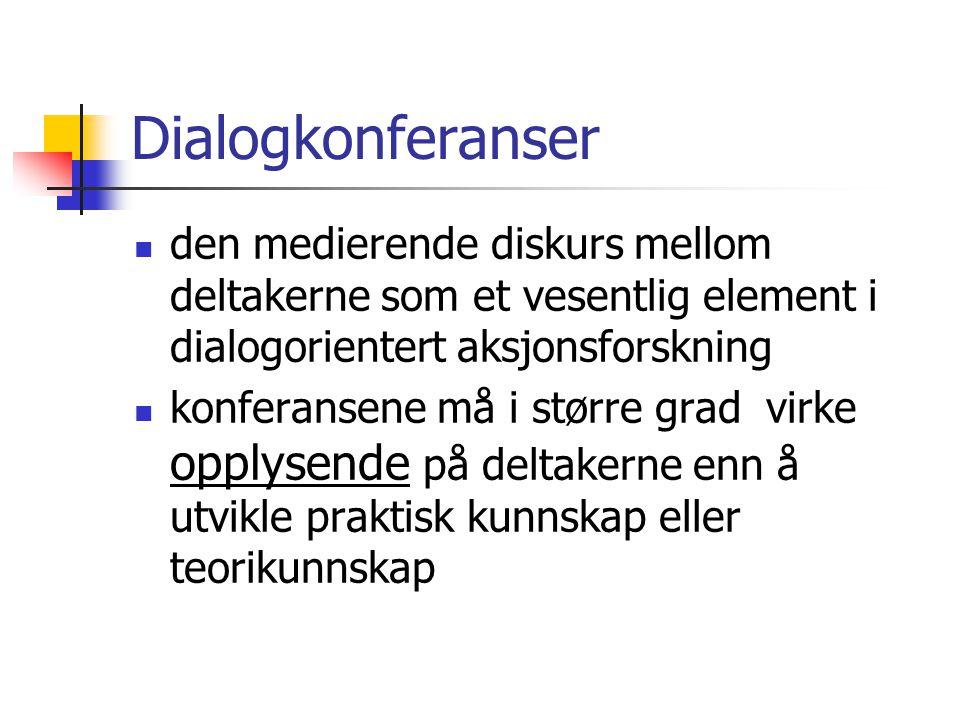 Dialogkonferanser den medierende diskurs mellom deltakerne som et vesentlig element i dialogorientert aksjonsforskning.