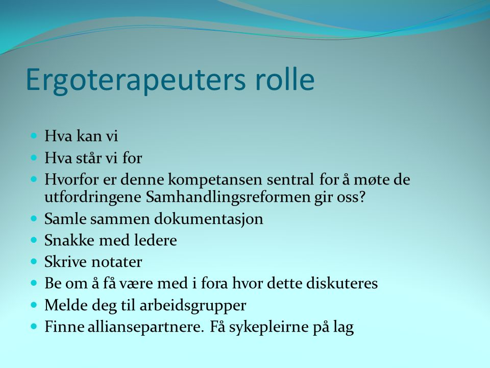 Ergoterapeuters rolle