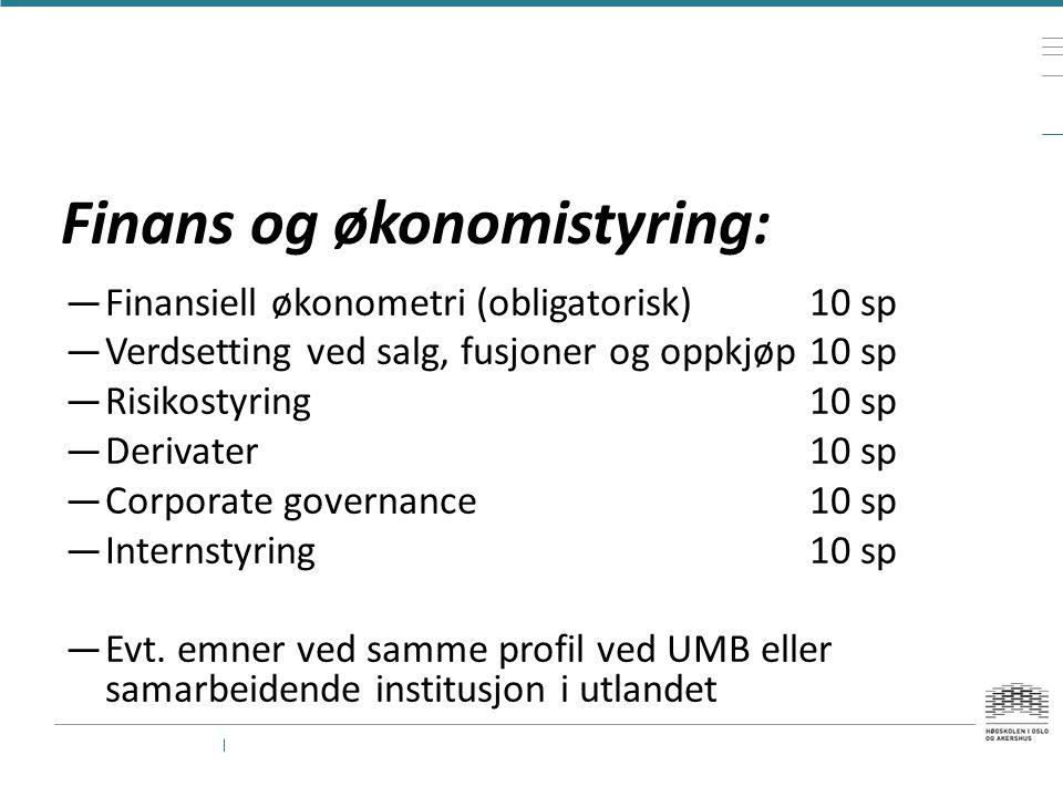 Finans og økonomistyring: