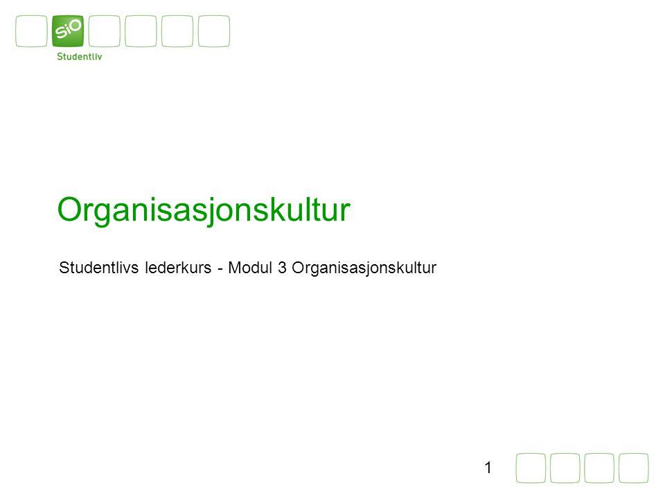 Organisasjonskultur Studentlivs lederkurs - Modul 3 Organisasjonskultur. Introduser hovedtema og undertema.