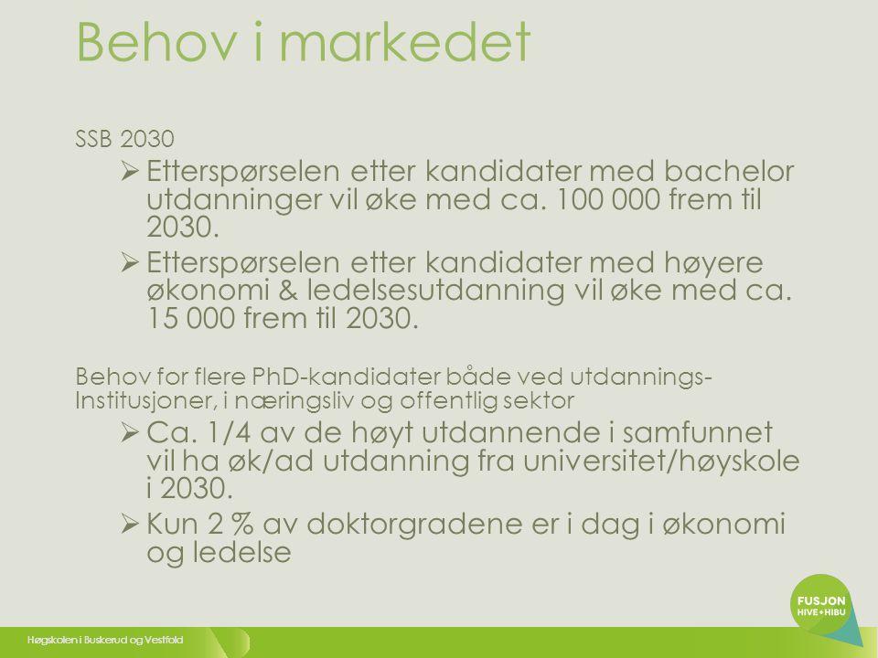 Behov i markedet SSB 2030. Etterspørselen etter kandidater med bachelor utdanninger vil øke med ca. 100 000 frem til 2030.