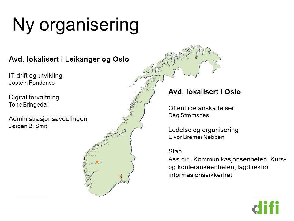 Ny organisering Avd. lokalisert i Leikanger og Oslo