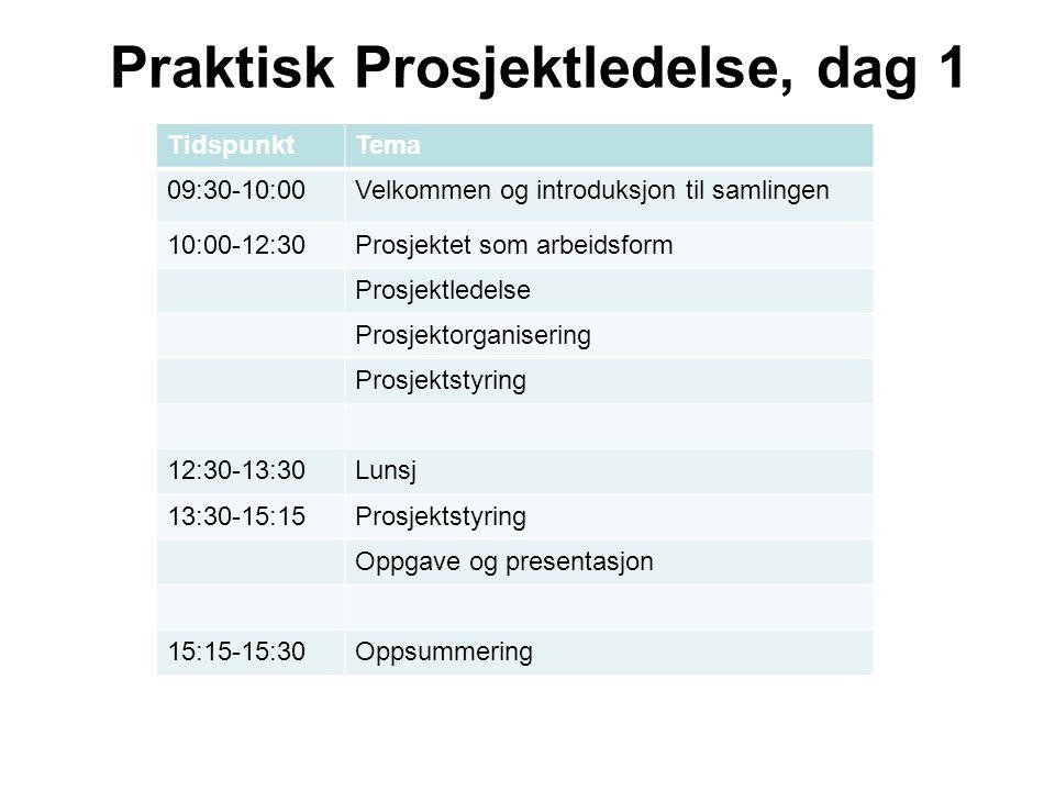 Praktisk Prosjektledelse, dag 1