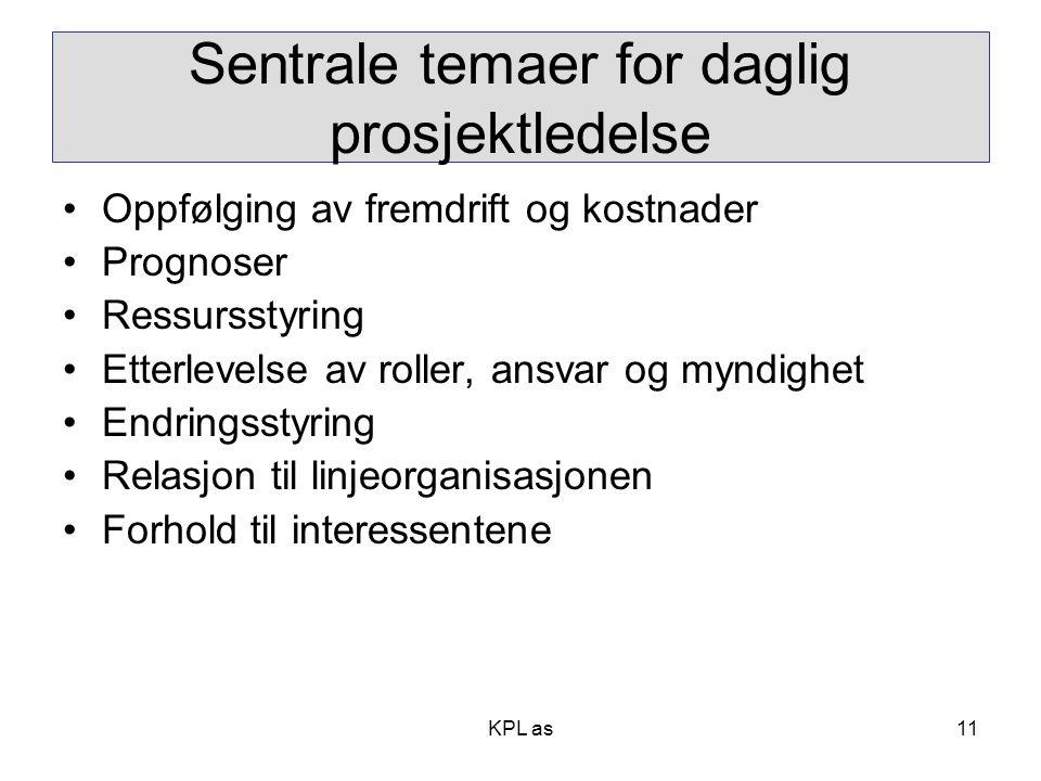Sentrale temaer for daglig prosjektledelse