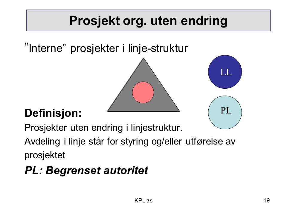 Prosjekt org. uten endring