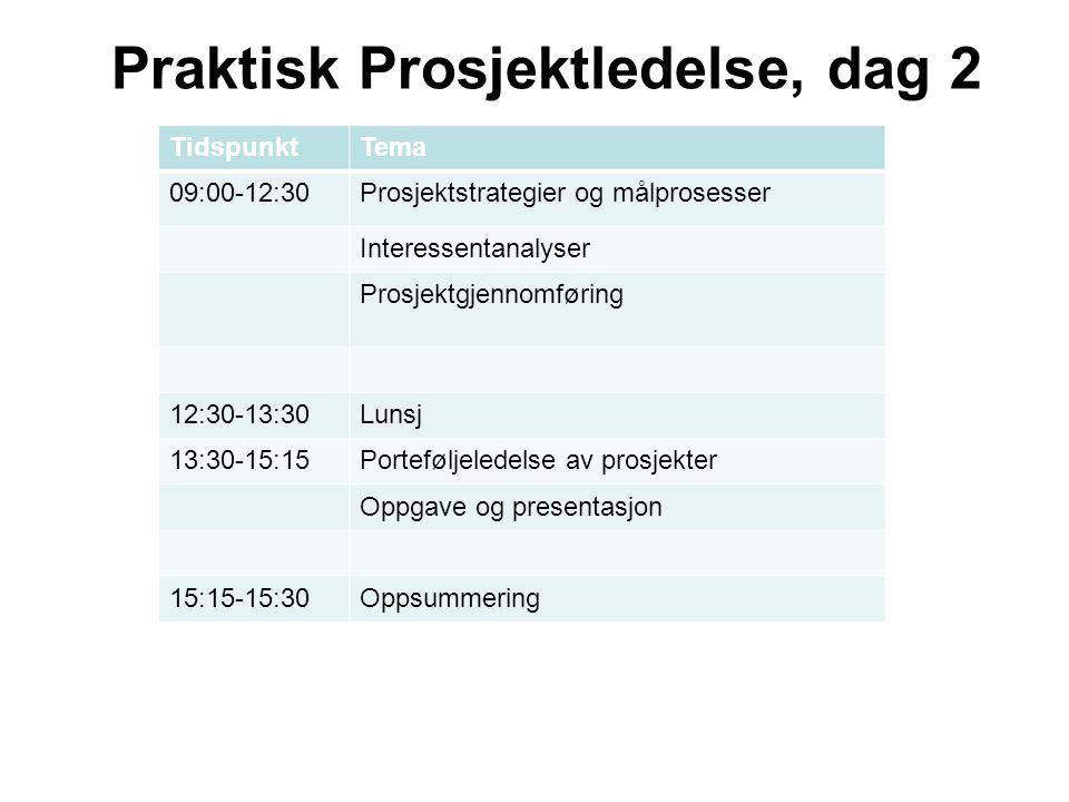 Praktisk Prosjektledelse, dag 2