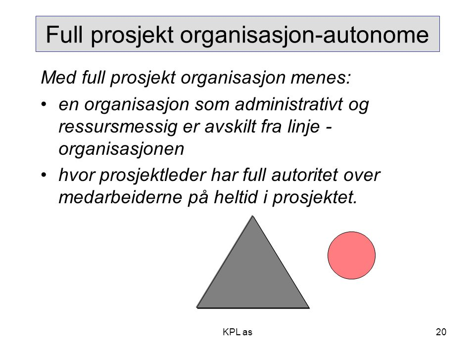 Full prosjekt organisasjon-autonome