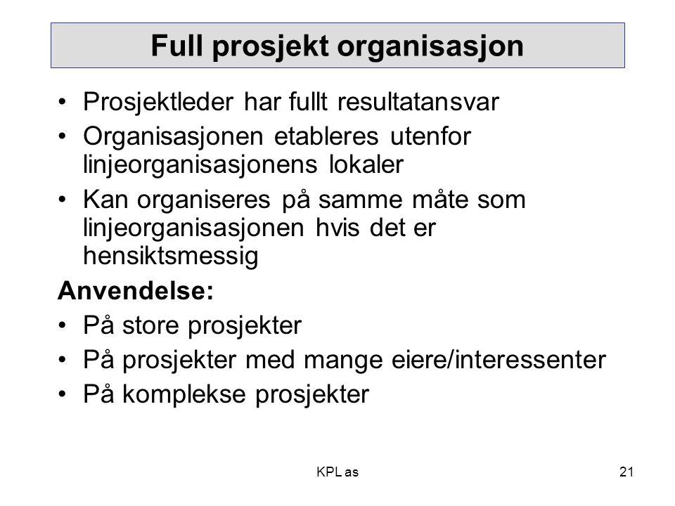 Full prosjekt organisasjon