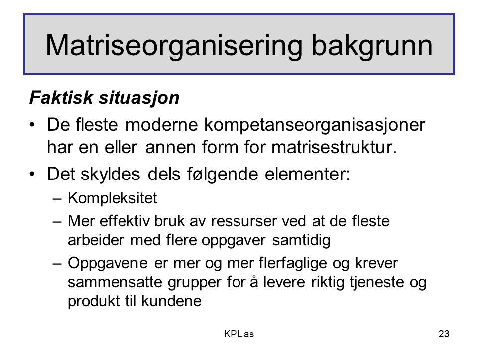 Matriseorganisering bakgrunn