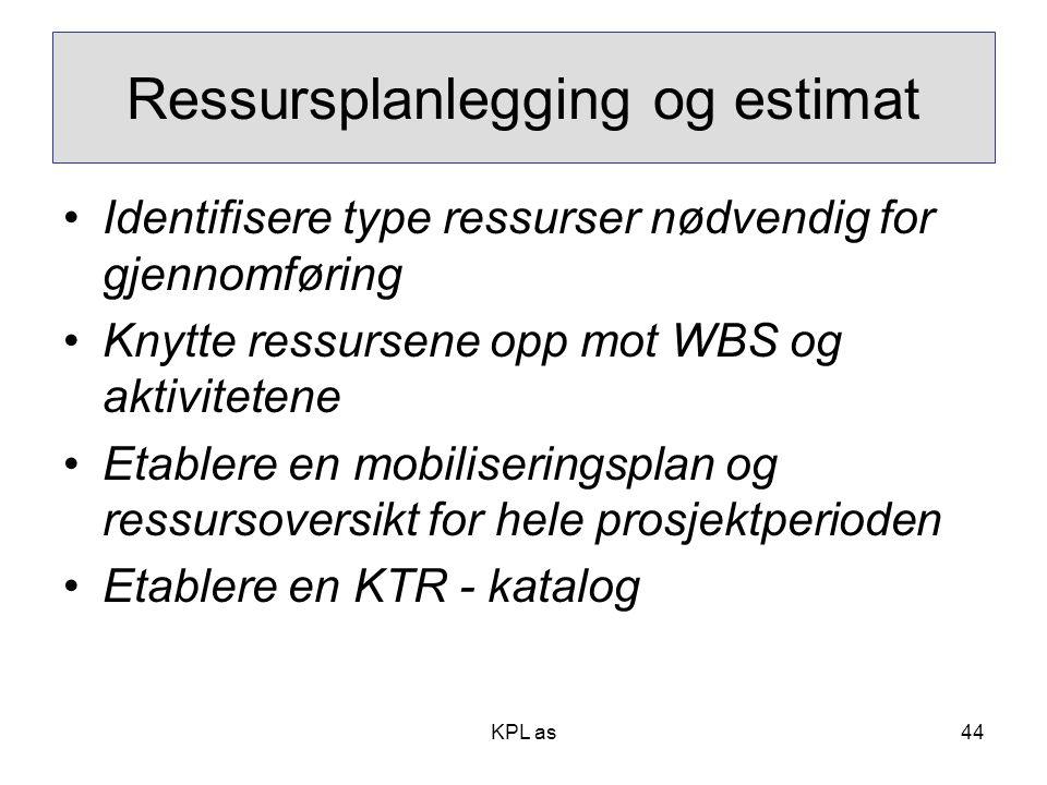 Ressursplanlegging og estimat
