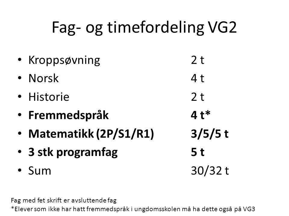 Fag- og timefordeling VG2