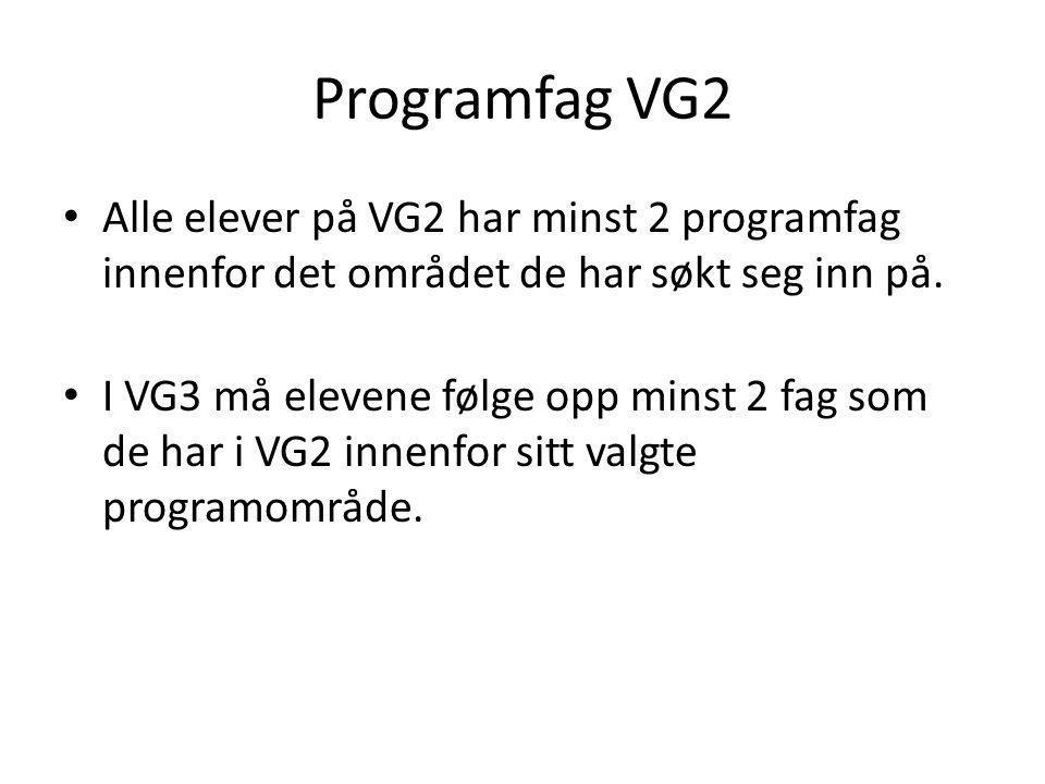 Programfag VG2 Alle elever på VG2 har minst 2 programfag innenfor det området de har søkt seg inn på.