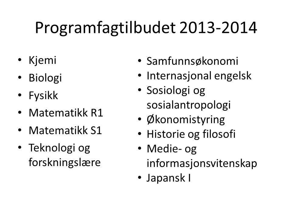 Programfagtilbudet 2013-2014 Kjemi Samfunnsøkonomi Biologi