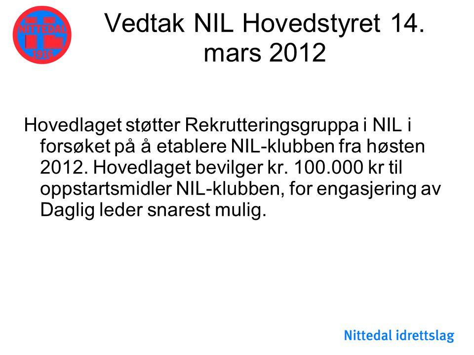Vedtak NIL Hovedstyret 14. mars 2012
