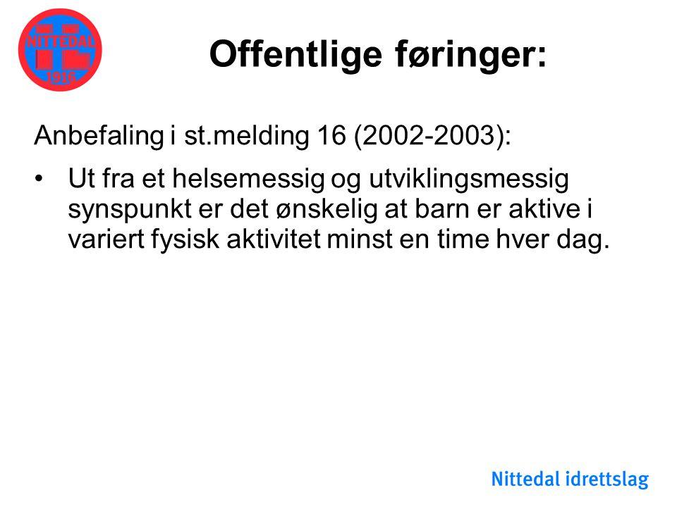 Offentlige føringer: Anbefaling i st.melding 16 (2002-2003):