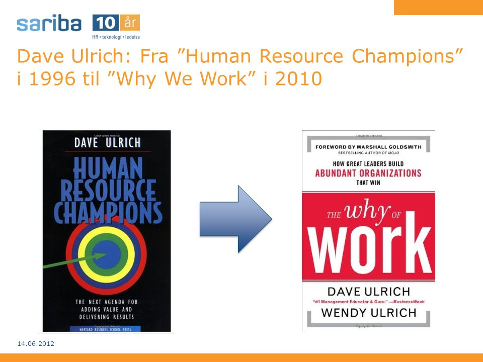 Dave Ulrich: Fra Human Resource Champions i 1996 til Why We Work i 2010