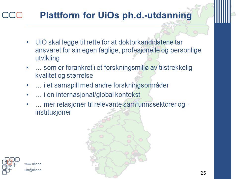Men det er behov for … Ytterligere kvalitetsutvikling; bedre sammenheng mellom de ulike elementene i ph.d.-utdanningen og noen nye oppgaver.