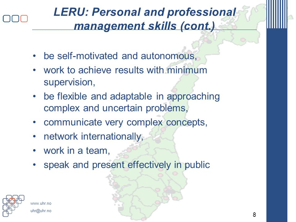 LERU: Personal and professional management skills