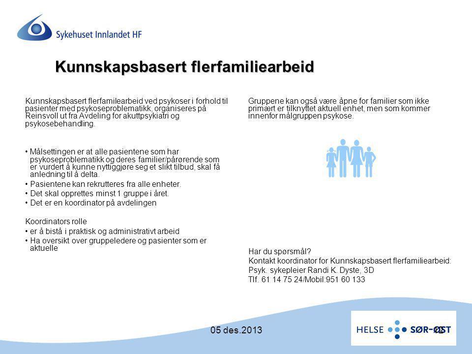  Kunnskapsbasert flerfamiliearbeid 05 des.2013