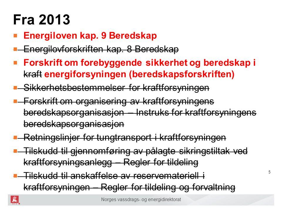Fra 2013 Energiloven kap. 9 Beredskap