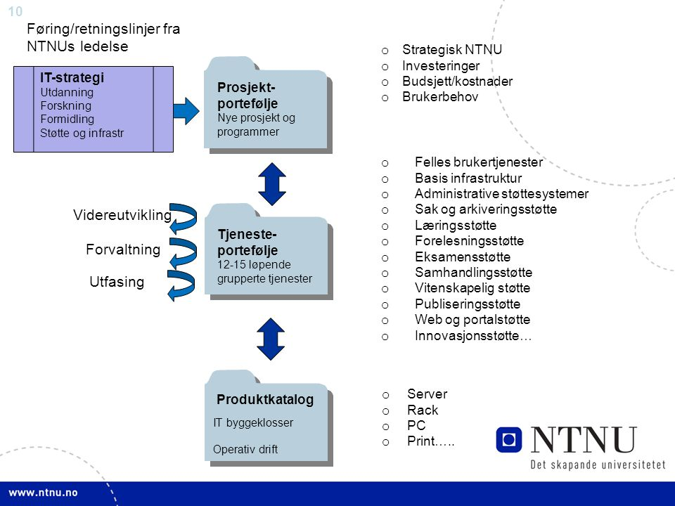 Føring/retningslinjer fra NTNUs ledelse