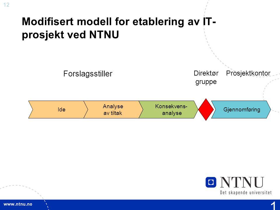 Modifisert modell for etablering av IT-prosjekt ved NTNU