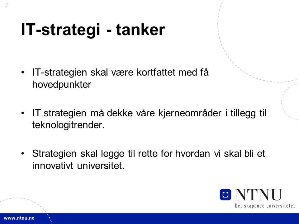 IT-strategi - tanker IT-strategien skal være kortfattet med få hovedpunkter.