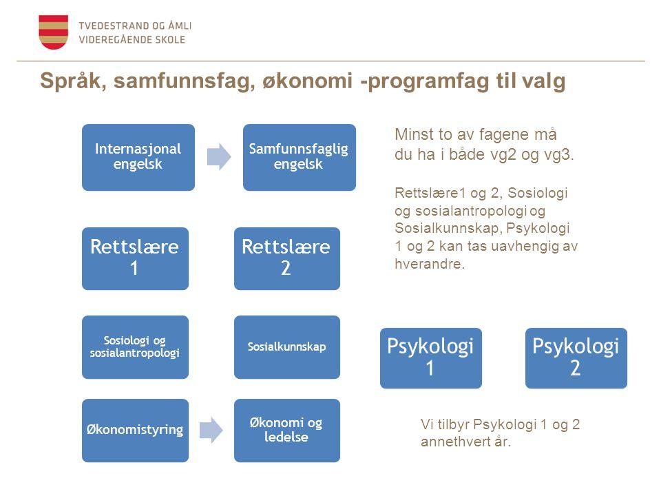 Språk, samfunnsfag, økonomi -programfag til valg