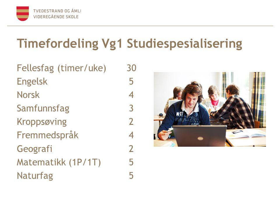 Timefordeling Vg1 Studiespesialisering