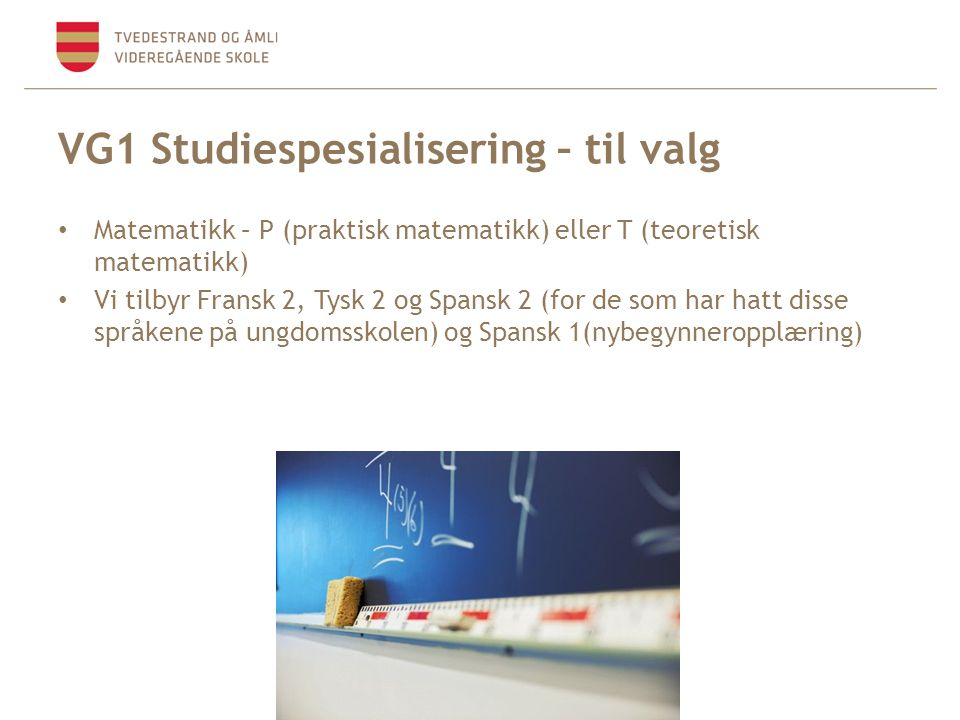 VG1 Studiespesialisering – til valg