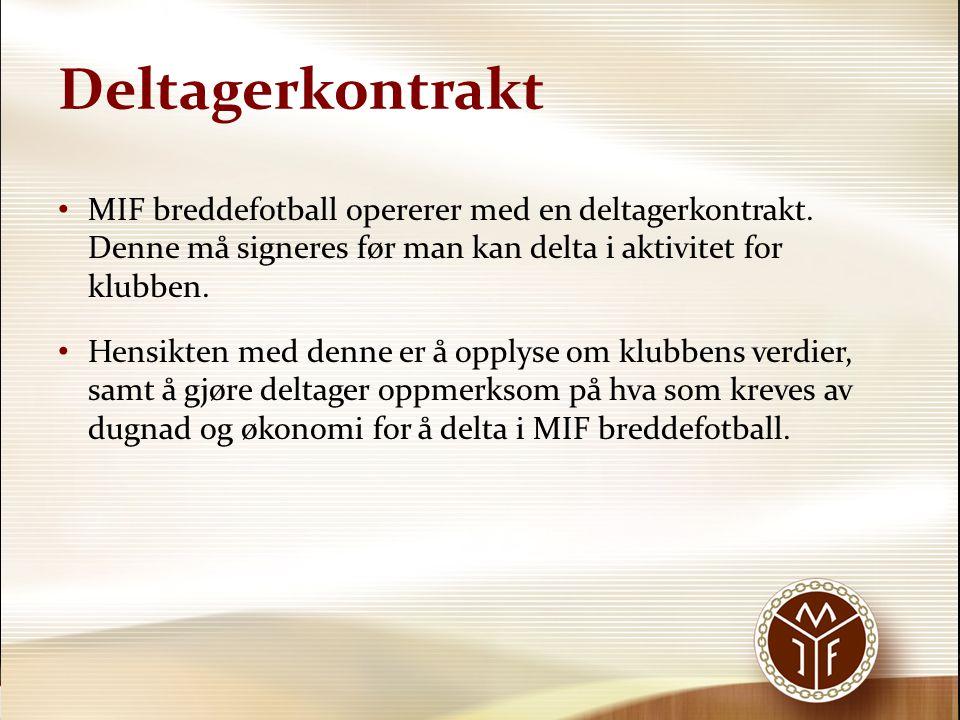 Deltagerkontrakt MIF breddefotball opererer med en deltagerkontrakt. Denne må signeres før man kan delta i aktivitet for klubben.