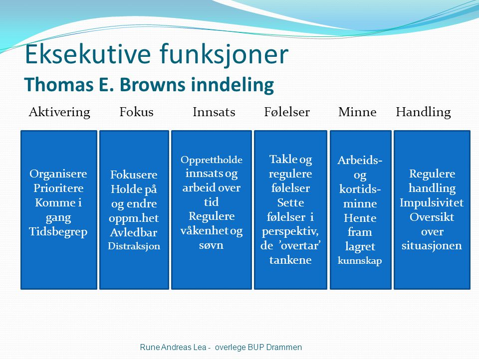 Eksekutive funksjoner Thomas E. Browns inndeling