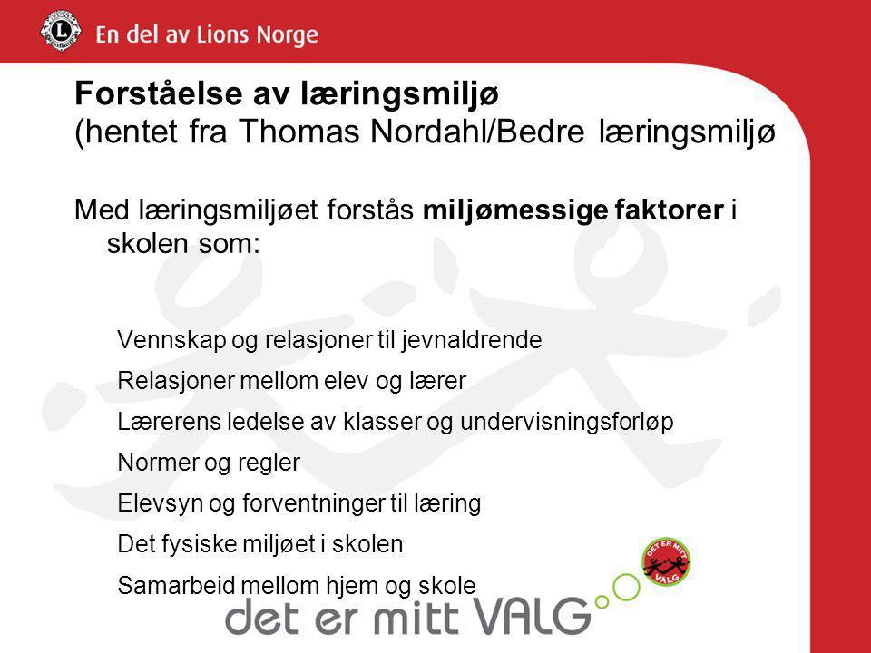 Forståelse av læringsmiljø (hentet fra Thomas Nordahl/Bedre læringsmiljø