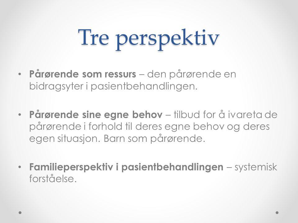 Tre perspektiv Pårørende som ressurs – den pårørende en bidragsyter i pasientbehandlingen.