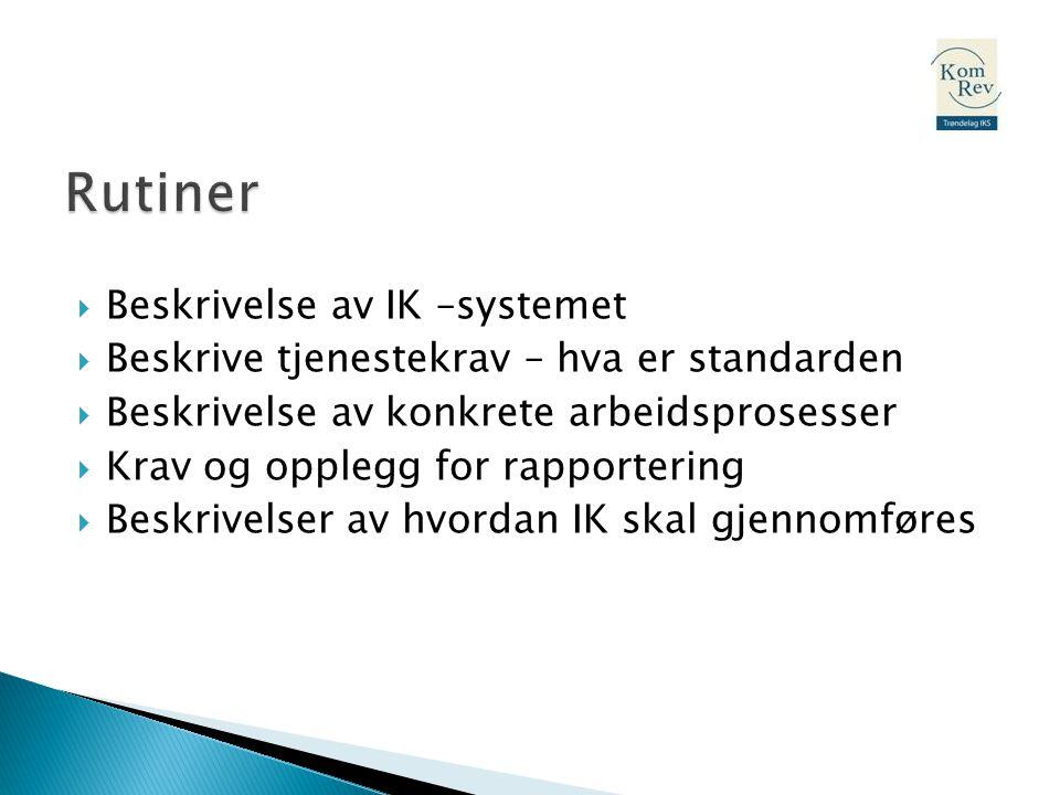 Rutiner Beskrivelse av IK –systemet