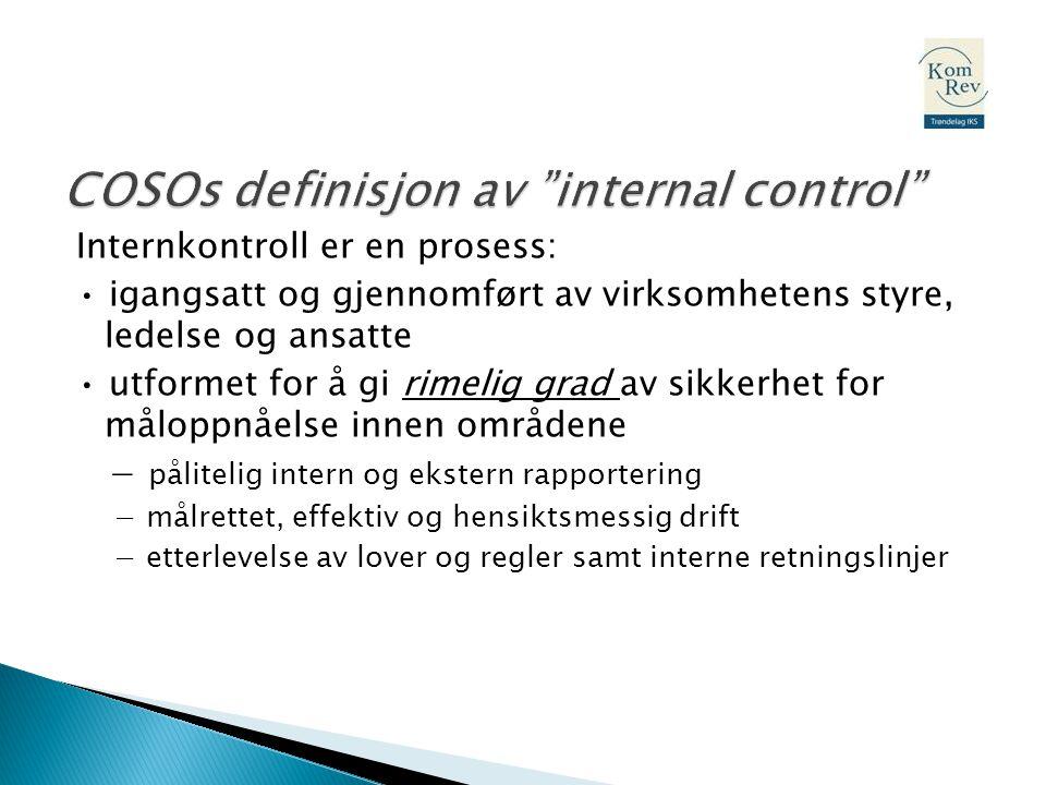 COSOs definisjon av internal control