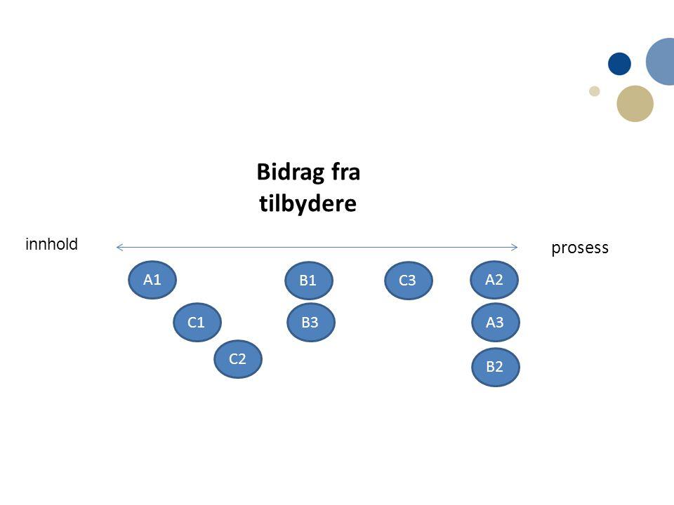 Bidrag fra tilbydere innhold prosess A1 B1 C3 A2 C1 B3 A3 C2 B2