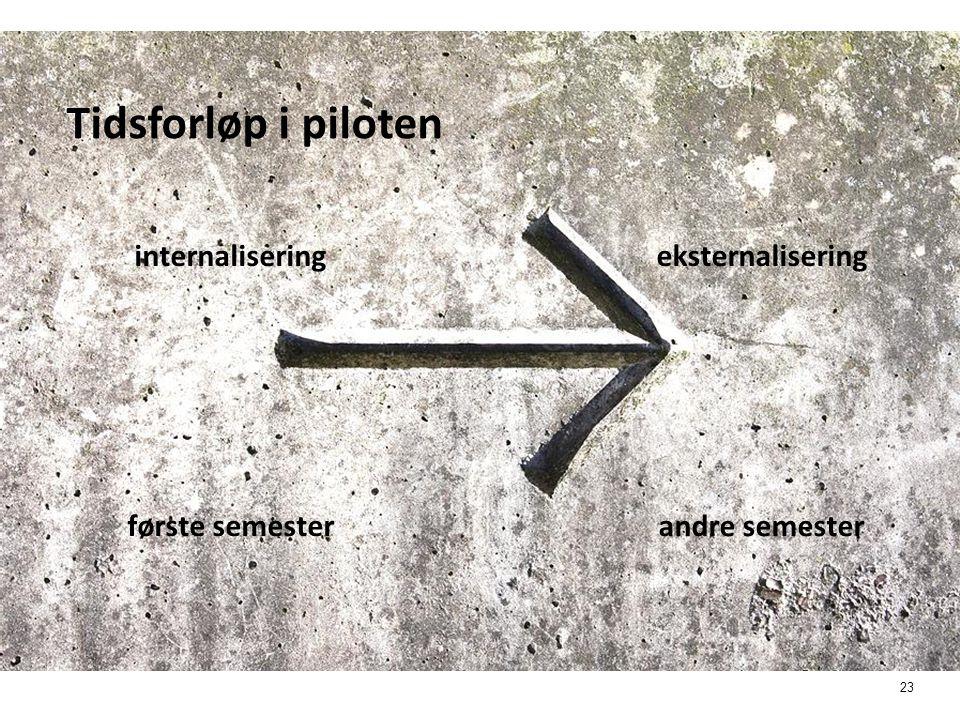 Tidsforløp i piloten internalisering eksternalisering første semester