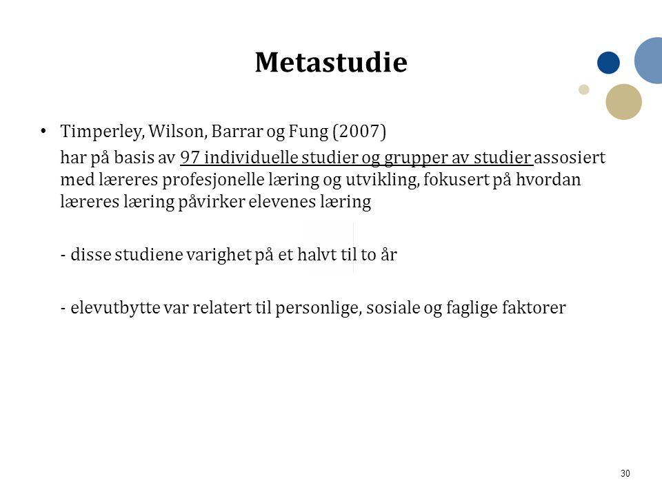 Metastudie Timperley, Wilson, Barrar og Fung (2007)