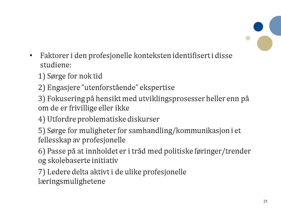 Faktorer i den profesjonelle konteksten identifisert i disse studiene: