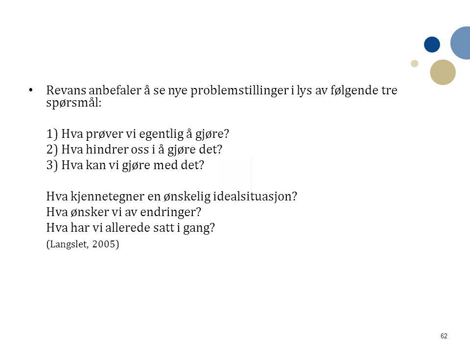 Revans anbefaler å se nye problemstillinger i lys av følgende tre spørsmål: