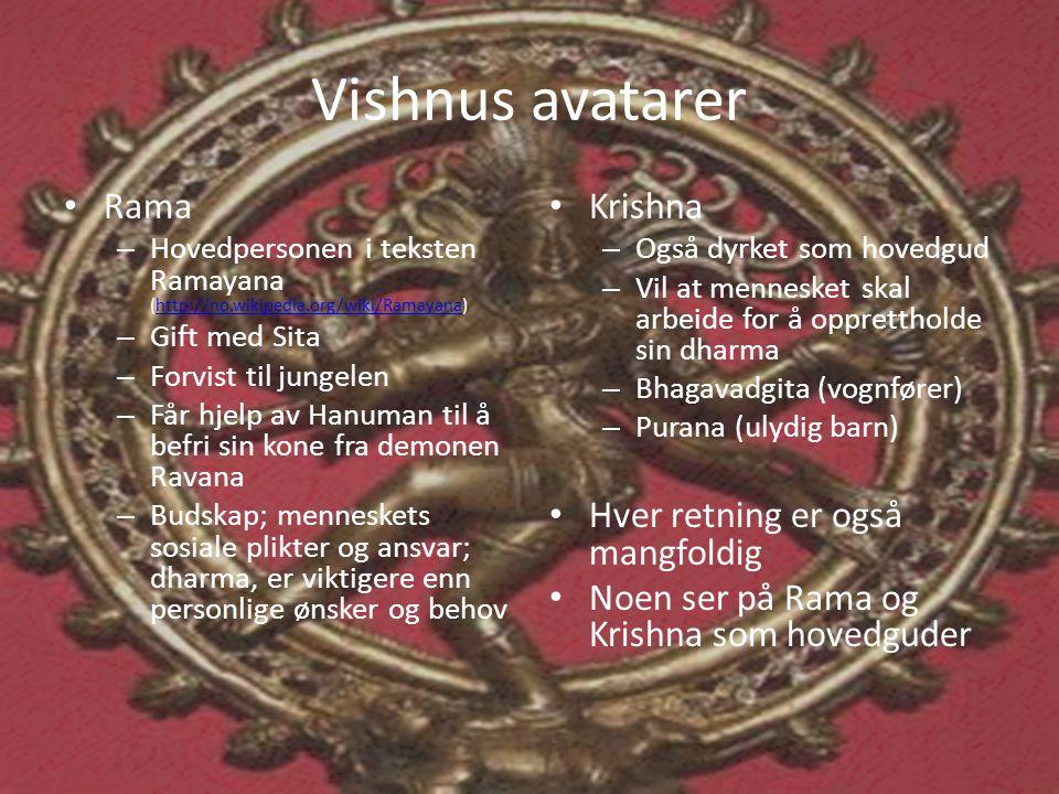 Vishnus avatarer Rama Krishna Hver retning er også mangfoldig