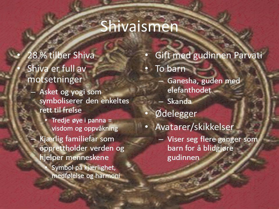 Shivaismen 28 % tilber Shiva Shiva er full av motsetninger