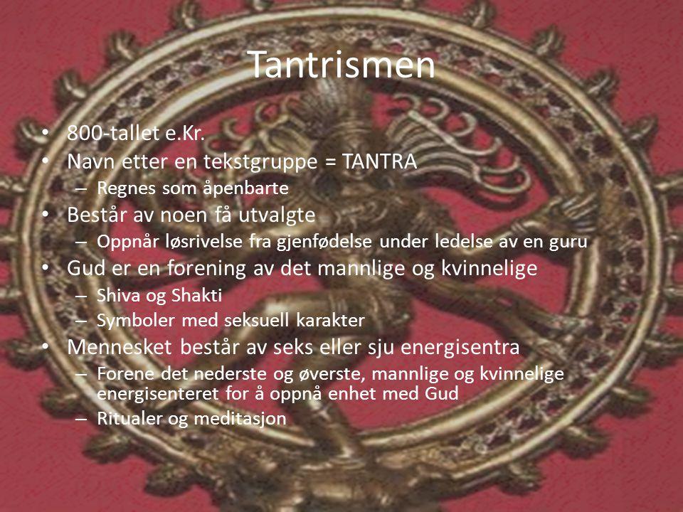 Tantrismen 800-tallet e.Kr. Navn etter en tekstgruppe = TANTRA