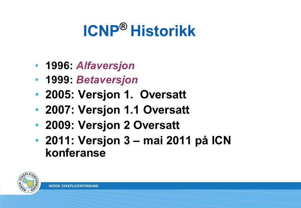 ICNP® Historikk 2005: Versjon 1. Oversatt 2007: Versjon 1.1 Oversatt
